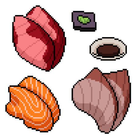pixel art of japanese fish slice 矢量图像