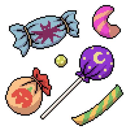 pixel art of halloween candy sweet 矢量图像