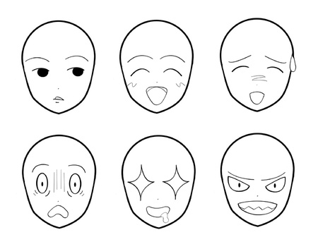Anime Facial Expressions 01  イラスト・ベクター素材