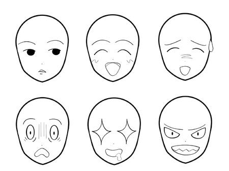 Anime Facial Expressions 01 Vettoriali