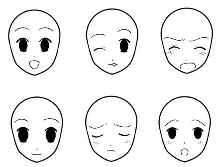 flirty: Espressioni facciali Anime 02 Vettoriali