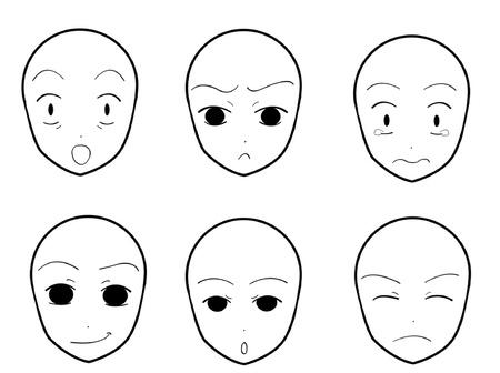 얼굴 표정: 애니메이션 얼굴 표정 04 일러스트