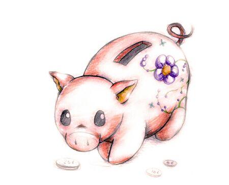dime: Little Piggy Bank Illustration
