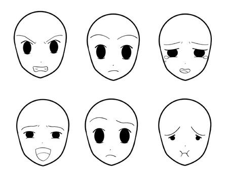 gezichts uitdrukkingen: Anime Gezichtsuitdrukkingen 05