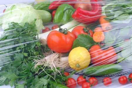 Flat lay of fresh fruits and vegetables on blue background Stok Fotoğraf