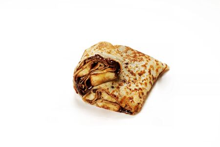 Traditional Turkish meal Gozleme with chocolate and cheese