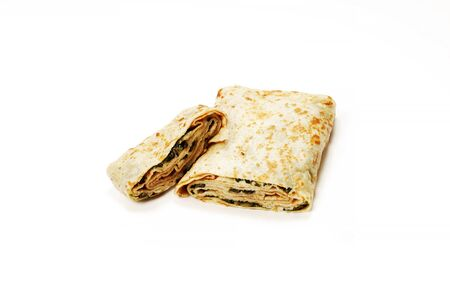 Traditional Turkish meal Gozleme with bacon and cheese
