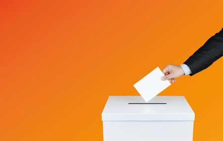 A ballot box in elections. With orange background