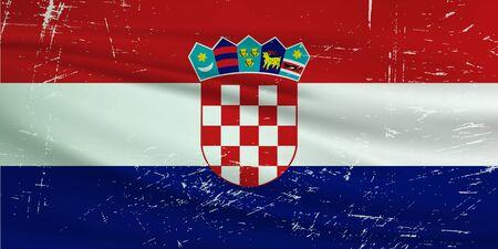 Grunge Croatia flag. Croatia flag with waving grunge texture. Vector background.
