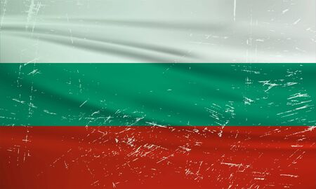 Grunge Bulgaria flag. Bulgaria flag with waving grunge texture. Vector background. 矢量图像