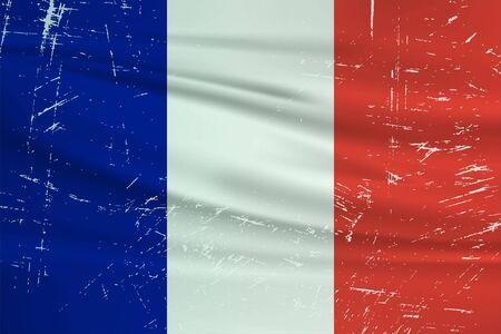 Grunge France flag. France flag with waving grunge texture. Vector background.