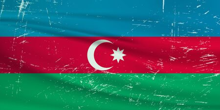 Grunge Azerbaijan flag. Azerbaijan flag with waving grunge texture. Vector background.