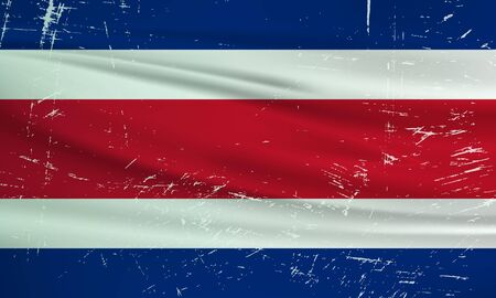 Grunge Costa Rica flag. Costa Rica flag with waving grunge texture. Vector background.