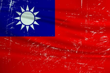 Grunge Taiwan flag. Taiwan flag with waving grunge texture. Vector background.