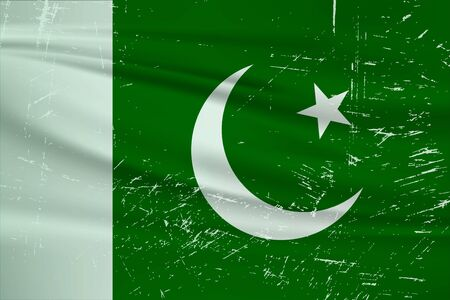 Grunge Pakistan flag. Pakistan flag with waving grunge texture. Vector background.