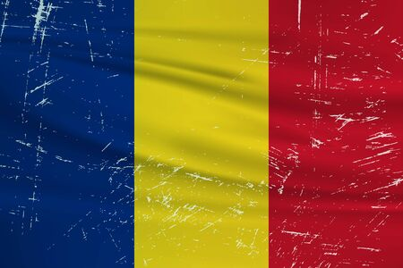 Grunge Romania flag. Romania flag with waving grunge texture. Vector background. Illustration