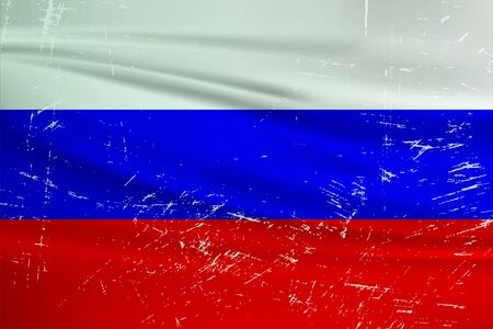 Grunge Russia flag. Russia flag with waving grunge texture. Vector background.