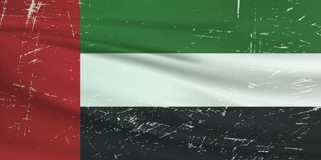 Grunge United Arab Emirates flag. United Arab Emirates flag with waving grunge texture. Vector background.