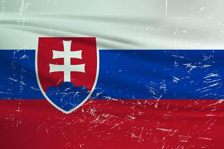 Grunge Slovakia flag. Slovakia flag with waving grunge texture. Vector background.