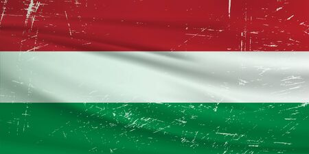Grunge Hungary flag. Hungary flag with waving grunge texture. Vector background.
