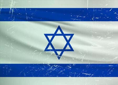 Grunge Israel flag. Israel flag with waving grunge texture. Vector background.