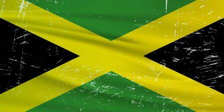 Grunge Jamaica flag. Jamaica flag with waving grunge texture. Vector background.