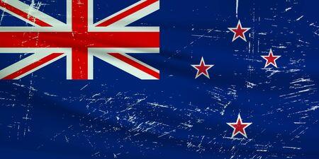Grunge New Zealand flag. New Zealand flag with waving grunge texture. Vector background.