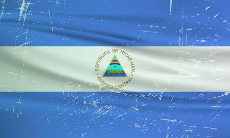 Grunge Nicaragua flag. Nicaragua flag with waving grunge texture. Vector background.