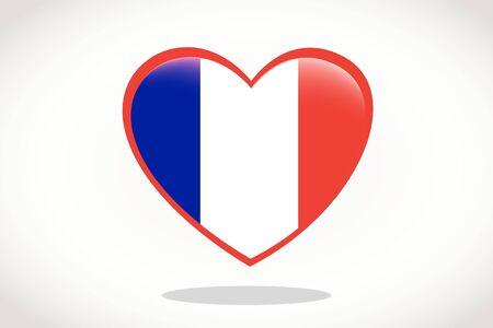 France Flag in Heart Shape. Heart 3d Flag of France, France flag template design.