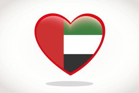 United Arab Emirates Flag in Heart Shape. Heart 3d Flag of United Arab Emirates, United Arab Emirates flag template design.