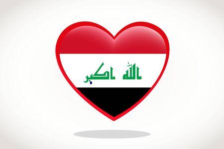 Iraq Flag in Heart Shape. Heart 3d Flag of Iraq, Iraq flag template design. Stock Illustratie