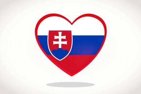 Slovakia Flag in Heart Shape. Heart 3d Flag of Slovakia, Slovakia flag template design.