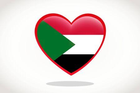 Sudan Flag in Heart Shape. Heart 3d Flag of Sudan, Sudan flag template design.