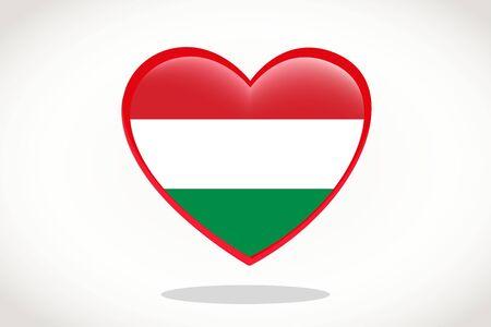 Hungary Flag in Heart Shape. Heart 3d Flag of Hungary, Hungary flag template design.