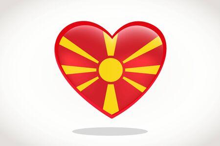 Macedonia Flag in Heart Shape. Heart 3d Flag of Macedonia, Macedonia flag template design.