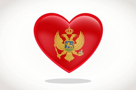 Montenegro Flag in Heart Shape. Heart 3d Flag of Montenegro, Montenegro flag template design.