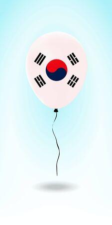 South Korea balloon with flag. Ballon in the Country National Colors. Country Flag Rubber Balloon. Vector Illustration.