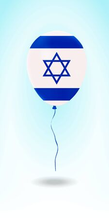 Israel balloon with flag. Ballon in the Country National Colors. Country Flag Rubber Balloon. Vector Illustration.