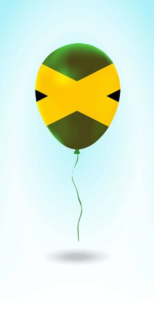 Jamaica balloon with flag. Ballon in the Country National Colors. Country Flag Rubber Balloon. Vector Illustration.