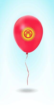 Kyrgyzstan balloon with flag. Ballon in the Country National Colors. Country Flag Rubber Balloon. Vector Illustration.