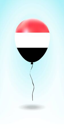 Yemen balloon with flag. Ballon in the Country National Colors. Country Flag Rubber Balloon. Vector Illustration.