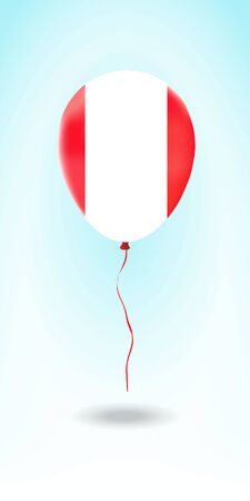Peru balloon with flag. Ballon in the Country National Colors. Country Flag Rubber Balloon. Vector Illustration.