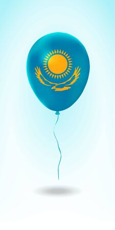 Kazakhstan balloon with flag. Ballon in the Country National Colors. Country Flag Rubber Balloon. Vector Illustration. Çizim