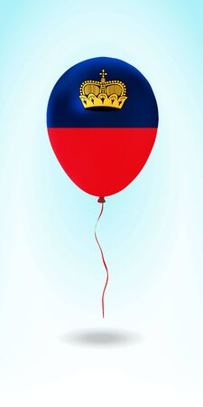 Liechtenstein balloon with flag. Ballon in the Country National Colors. Country Flag Rubber Balloon. Vector Illustration.