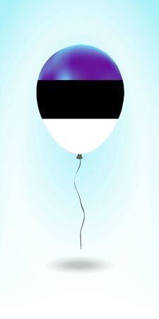 Estonia balloon with flag. Ballon in the Country National Colors. Country Flag Rubber Balloon. Vector Illustration. Çizim