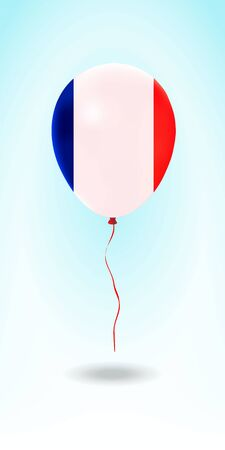 France balloon with flag. Ballon in the Country National Colors. Country Flag Rubber Balloon. Vector Illustration. Çizim