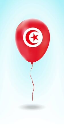 Tunisia balloon with flag. Ballon in the Country National Colors. Country Flag Rubber Balloon. Vector Illustration.