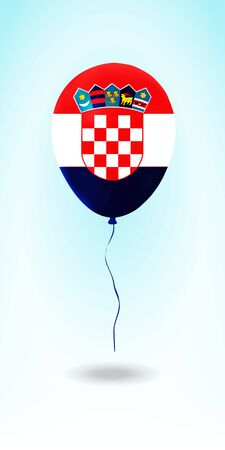 Croatia balloon with flag. Ballon in the Country National Colors. Country Flag Rubber Balloon. Vector Illustration. Çizim