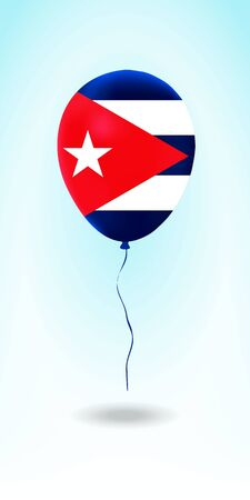 Cuba balloon with flag. Ballon in the Country National Colors. Country Flag Rubber Balloon. Vector Illustration.