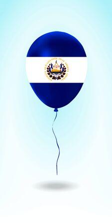 El Salvador balloon with flag. Ballon in the Country National Colors. Country Flag Rubber Balloon. Vector Illustration. Stok Fotoğraf - 139147499